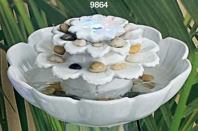 006450 Fontana fiore ceramica bianca con led