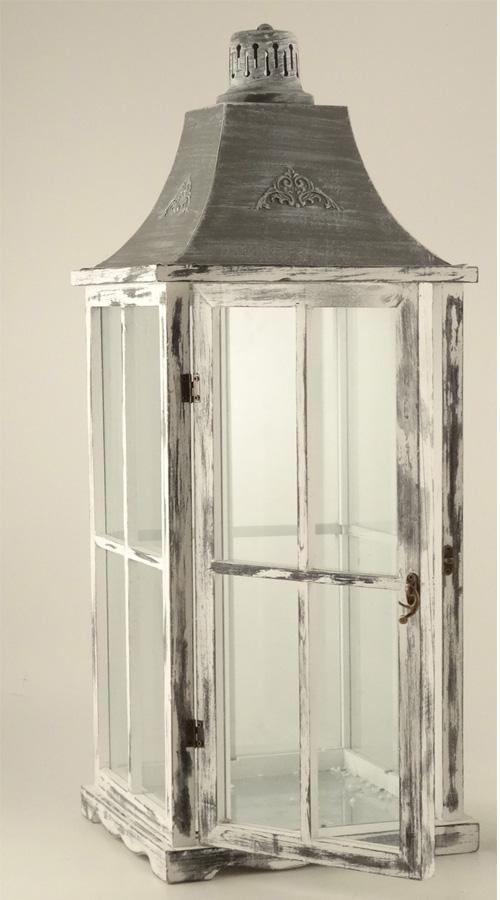 004241 Lanterna legno colorata grigia grande cm.28x28H75  LAN68