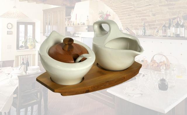 001099 Set  minimal in  porcellana bianca con base in bambù